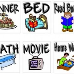 Lots of Daily Schedule Pictures Printables; After school, Daily chores, going places; etc