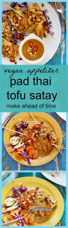 Vegan Pad thai style tofu satay skewers with peanut sauce makes a quick and easy appetizer . Learn how to prepare perfect tofu for cooking. Vegetarian Pad Thai, Vegan Pad Thai, Vegetarian Cooking, Vegetarian Recipes, Vegan Food, Tofu Recipes, Delicious Vegan Recipes, Whole Food Recipes, Dinner Recipes