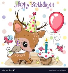 Cute Deer and bird with balloon and bonnets. Birthday card with Cute Deer and bird with balloon and bonnets stock illustration Happy Birthday Greetings Friends, Birthday Wishes For Kids, Son Birthday Quotes, Birthday Card Sayings, Birthday Tags, Happy Birthday Messages, Happy Birthday Images, Friend Birthday, Birthday Cartoon