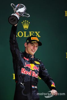 Max Verstappen, Red Bull Racing celebrates his third position on the podium