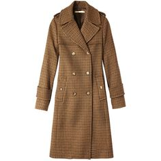 Michael Kors Houndstooth Trench Coat ($2,895) ❤ liked on Polyvore featuring outerwear, coats, brown, woolen coat, brown coat, double breasted trench coat, trench coat and double-breasted coat