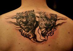 Chronic ink Tattoos, Toronto Tattoo - Theatre masks by Csaba.