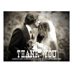 Rustic Country Wedding Thank You Postcard - Photo
