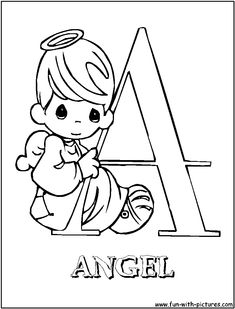 A for angel - Precious Moments Alphabet Coloring Pages