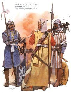 The Ottomans: 1: Wallachian Voynik auxiliary, c. 1500; 2: Janissary, XV c.; 3: North African marine, early XVI c.