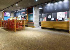 Gastronomie - Domino LAERCHE Vulcano geschliffen natur geoelt Wood Block Flooring, Wood Blocks, Liquor Cabinet, Conference Room, Basketball Court, Storage, Table, Vulcano, Furniture