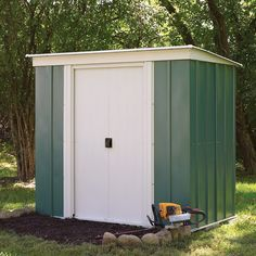 Relax in the knowledge that your valuable garden equipment is safely stored away in a Rowlinson Metal Pent Shed. Metal Storage Sheds, Metal Shed, Lean To Shed, Double Sliding Doors, Sheds For Sale, Window Glazing, Bike Shed, Wooden Sheds, Wooden Fence