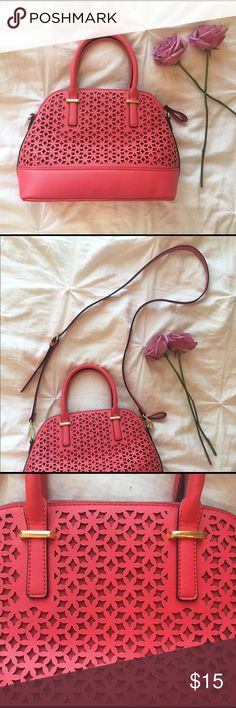 Pink Detailed Purse With Removable Strap Gold Detailing // Cut Out Pattern // Hot Pink Color // Mossimo // Lightly Used Mossimo Supply Co Bags Crossbody Bags