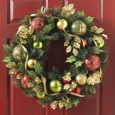 Pine and Ornament Christmas Wreath check out these great items at www.shelleybhomeandholiday.com use code 50save30 at check out on orders over $50  and 30% will be deducted from your total!