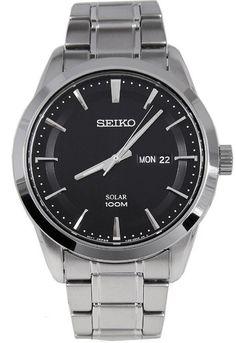 Montre Homme Seiko Solar SNE363P1, bracelet et boîtier acier, cadran noir.