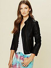 Quilted Vegan Leather Jacket