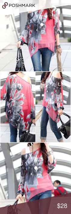 """Floral Print Chiffon Tunic  Scoop neck, floral print, loose fit, boho style tunic.   Chiffon fabric (95% Polyester 5% Spandex)  Somewhat sheer, so you would need a cami underneath.  Beautiful coral-ish pink with black, gray and white.                                   ❗THESE ARE ONE SIZE FITS MOST❗️ Listed as Large and X-Large for search purposes.   Please pay close attention to measurements.                          Bust:  approx. 66""""       Length: 25 to 27""""   #523AE451 Tops"""