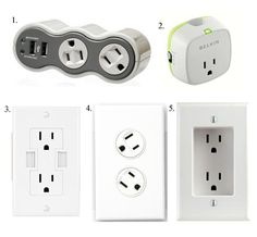 It's Electric: Uniquely Convenient Power Outlets & Accessories    Belkin Conserve Socket Energy Saving Outlet.  Plug your phone into this device, set the timer and it will stop pulling juice from the outlet when time's up.     The Leviton Recessed Wall Outlet is also pretty cool.