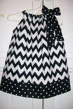 Pillowcase Dress CHEVRON Black White DOTS Fall Trend 3m 6m 12m 18m 2t 3t 4t 5t
