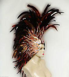 Da NeeNa H043s Feather Vegas Roman Mohawk Showgirl Headdress