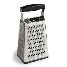Features ultra-coarse, coarse, and fine graters, plus a slicer. Dry measuring marks in cups and milliliters on the sides. Removable ginger grater base included.