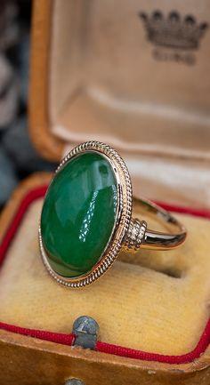 Bezel Set Untreated Jadeite Jade Cocktail Ringn.nSku AB17196 Jade Jewelry, Emerald Jewelry, Art Deco Jewelry, Jewelry Box, Jewelery, Jewelry Accessories, Unique Jewelry, Big Rings, Pink Ring