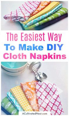 Homemade Cloth Napkins DIY Cloth Napkins- A great way to save money on paper products is to use reusable cloth napkins. But you don't have to settle for boring white napkins. Instead, check out how to make your own pretty patterned homemade cloth napkins! Easy Sewing Projects, Sewing Projects For Beginners, Sewing Hacks, Sewing Tutorials, Sewing Crafts, Sewing Tips, Diy Gifts Sewing, Diy Projects, Diy Crafts