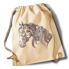 """Calligraphic horse"" Cotton Gymsack von MAD IN BERLIN auf DaWanda.com"