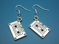 Cassette Earrings - mixtape geek nerd earrings retro funky jewelry funny…