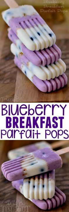 Popsicles for breakfast? You bet! Blueberry Breakfast Parfait Pops made with Greek yogurt. | MomOnTimeout.com