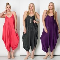 New plus size harem oversized jumpsuit boho dress 📍price is FIRM📍Brand new without tags. The color may vary brighter / lighter than the actual product'🚩Runs big Fabric Content : rayon + spandex   Trendy plus size Rompers palazzo pants harem jumpsuit.  (1)solid black- (2) solid Purple-(3) solid white Oversized Loose fit drape harem Romper jumpsuit Boutique Pants Jumpsuits & Rompers