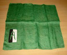 "Vintage Monogram Letter ""A"" Initial Handkerchief Hankie Hanky Green Black Ivory #Monogram"