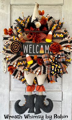 Halloween Candy Corn Witch Wreath, Halloween Decor, Witch Decor, Fall Wreath, Halloween Party, Halloween Door, Halloween Welcome Wreath Halloween Door, Halloween Candy, Halloween Wreaths, Skeleton Decorations, Halloween Decorations, Large Lollipops, Pumpkin Photos, Witch Wreath, Witch Decor