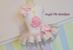 Baby Girl's First Birthday Outfit - Silver Sparkle Cupcake Bodysuit, Ribbon Tutu and Matching Hair Bow on Band - Silver & Pink on Etsy, $65.00