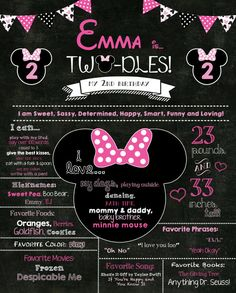 HOT Pink Minnie Mouse Twodles Birthday Poster   Birthday