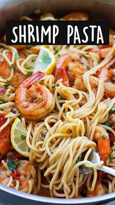 Shrimp Recipes For Dinner, Shrimp Pasta Recipes, Shrimp Dishes, Easy Pasta Recipes, Seafood Recipes, Cooking Recipes, Asian Recipes, Healthy Recipes, Easy Pasta Dishes