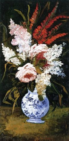 Still Life-Vase with Gladioli and Lilacs Vincent van Gogh 1886