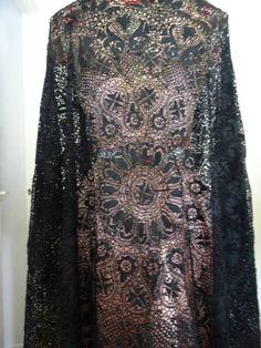A Stunning Huge Antique Black Maltese Lace Shawl Circa 1880 | eBay