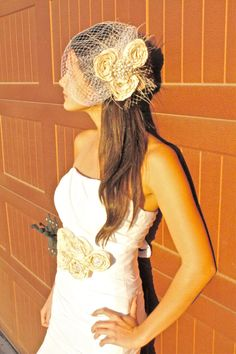 Bridal Bird Cage Veil  Ivory 3 flower