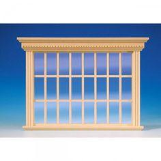 Patrizier Atelierfenster (50210), aus Naturholz, mit echter Glasscheibe und separater Innenverkleidung. Sprossenleisten sind bereits befestigt. Zum lackieren des Fensterrahmens und der bereits montierten Sprossen, kann die Glasscheibe einfach aus dem Rahmen entfernt werden! Maße: 148 x 204 mm (BxH), Ausschnittmaße: 170 x 128 mm.