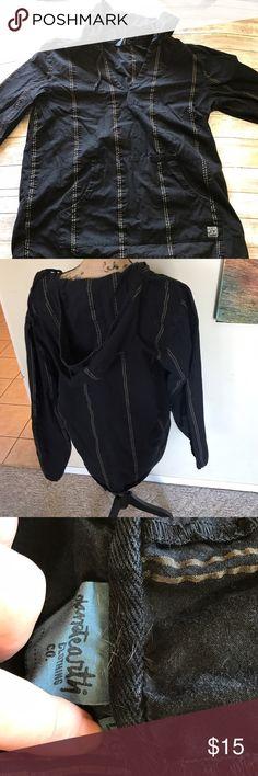 Cotton/Linen blend Unisex top with hood. Black with tan pattern. Cotton/ Linen blend. Great layer for festivals Shirts Sweatshirts & Hoodies