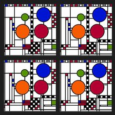 This Frank Lloyd Wright gift set of four coasters is inspired by his Coonley Playhouse art glass design of the window triptych from the Avery Coonley Playhouse, Riverside, Illinois, 1912.