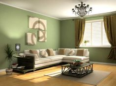 Living room with sage green paint colors - Maybe a wall in the ...