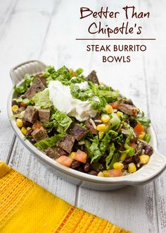 Better Than Chipotle Homemade Steak Burrito Bowls -- This was good. Chris even commented that I cooked the meat correctly (woo! I had tons of leftover cilantro rice, so I'll have to try some more burrito bowl options. Chipotle Bowl, Chipotle Recipes, Mexican Food Recipes, Beef Recipes, Dinner Recipes, Cooking Recipes, Healthy Recipes, Fondue Recipes, Leftover Steak Recipes