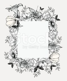 Black and white vector illustration. Vintage frame with flowers ...