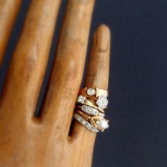 A striking stack of vintage rings.