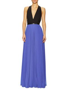 Colorblocked Pleat Skirt Gown by Halston Heritage at Gilt
