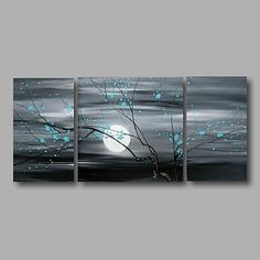 Hand-Painted Floral/Botanical Horizontal Panoramic, Modern Canvas Oil Painting Home Decoration Three Panels 2018 - $81.69