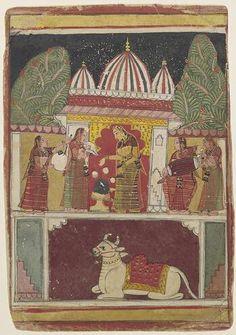 super short choli's in solid colours Folio from a Ragamala Series: Bhairavi Ragini, c. 1625-50 India: Madhya Pradesh, Malwa, 1600-1675 Opaque watercolor on paper image: 7-1/4 x 5-7/8 in. (18.4 x 14.9 cm); sheet: 8-3/4 x 6-1/4 in. (22.2 x 15.9 cm) Norton Simon Museum, Gift of Ramesh and Urmil Kapoor P.2002.02.4
