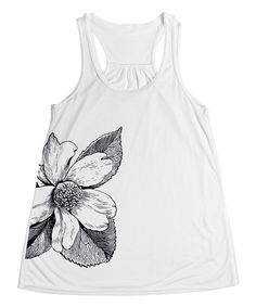 Look at this White Flower Racerback Tank on #zulily today!
