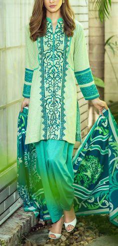 Buy Light Green/Turquoise Embroidered Karandi Salwar Kameez by Bonanza 2015…