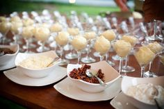 """""""Mashtini"""" - Mashed Potato Bar - Guests apply toppings themselves. Fixens might include: bacon, cheese, sour cream, ham, broccoli, salsa, or red peppers. You can also have themed mashtinis: Mexican or Mediterranean"""