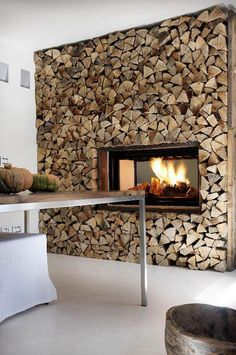 Fire place set into a rustic split log wall. If you like the effect, find… Fireplace Wall, Fireplace Design, Timber Feature Wall, Feature Walls, Log Wall, Wood Logs, Wall Installation, Into The Woods, My New Room