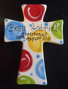 Children's Hand Painted Ceramic Cross  Great by cutiepatooties1, $17.95