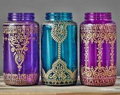 Bohemian Decor Mason Jar Vase or Boho Lantern Silver by LITdecor